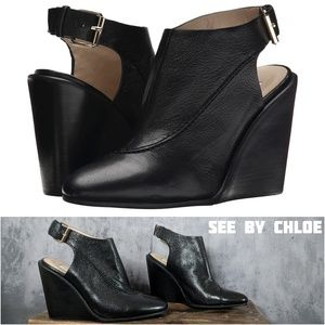 See by Chloe seamed leather slingback wedge boots
